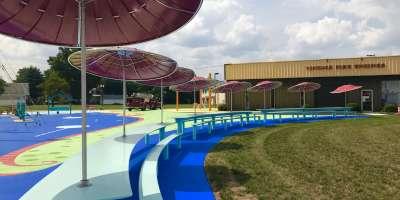 NoCo Art Center umbrellas and Fire Museum in Jeffersonville, IN