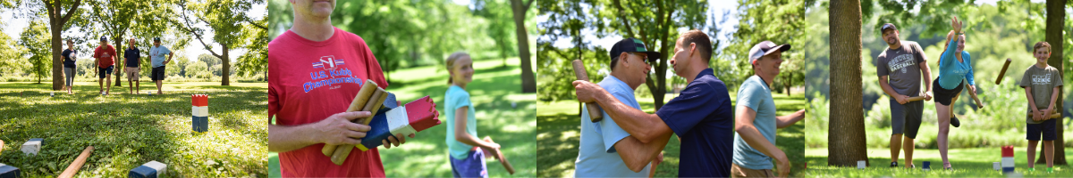 Collage of people playing Kubb in Owen Park