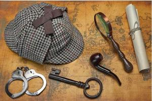 Sherlock Holms tools: cap, pipe, magnifying class, key, handcuffs, scroll