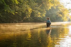 Man wading in the Yellow Breeches Creek fishing