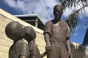 Statue of Jackie Robinson outside Jackie Robinson Ballpark in Daytona Beach