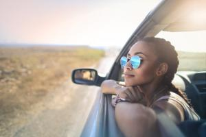 girl traveling by car