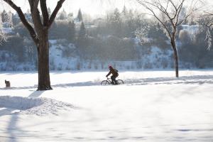 Biking the Meewasin Trails in winter
