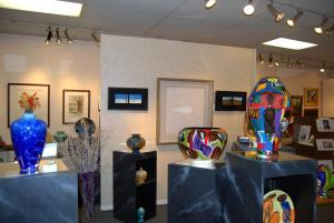 Glassworks and other fine arts sit on display at Carlisle's Garden Gallery.