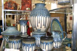 Handmade ceramics are on display at Village Artisans Gallery in Boiling Springs, PA.