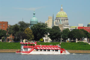 Pride of the Susquehanna boat with city in the back ground