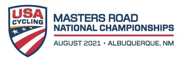 2021 Masters Road National Championships logo