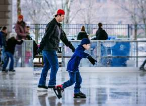 Families Ice Skating at Headwaters Park