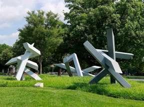 Cluster IV Sculpture by Ernest Shaw at Wichita Art Museum's Art Garden