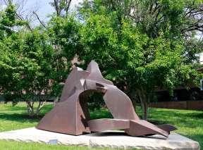 Extended Land Form Sculpture by Richard Hunt at Wichita Art Museum's Art Garden