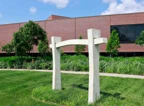 Three-Part Marble White Sculpture by Stanley Boxer at Wichita Art Museum's Art Garden