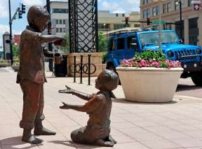 Two Kids Playing Bronze Sculpture