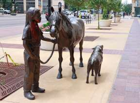 Little Girl with Horse and Pig Bronze Sculpture