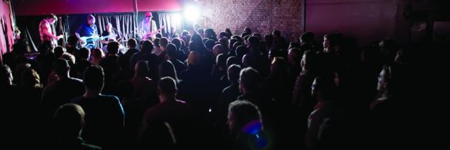 Crowd Of People Dancing In The Bishop In Bloomington, IN