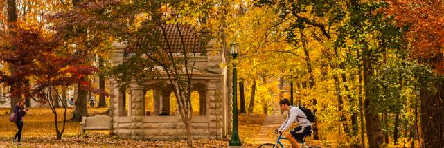 Person cycling IU's Old Crescent during Fall