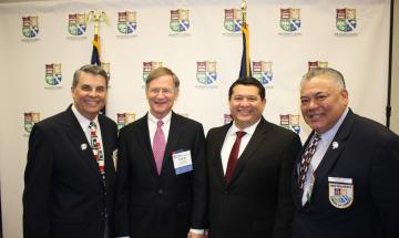 Chamber President Michael Meek, Lamar Smith, City Manager Robert Camareno and 2018 Citizen of the Year Joe Castilleja