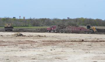 Dirt turning for flood reclamation at Titan Industrial Park Feb 2019