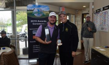 Pictured: Michael Meek and winner JIm Powell, CGT