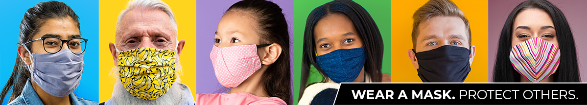 Portraits of Six People Wearing Face Masks With Wear A Mask, Protect Others Text