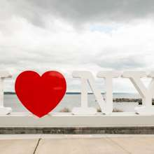 I Love New York sign on Seneca Lake