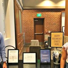 Donald Strickland and Martina Brooks at the Carrboro Hampton Inn & Suites inspect safe breakfast procedures