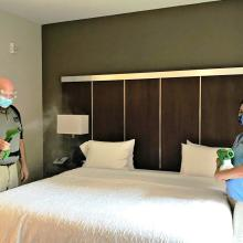 Electrostatic sprayer at Carrboro Hampton Inn & Suites, an Atma Hotel