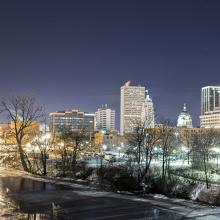Downtown Evening Skyline from Headwaters Park