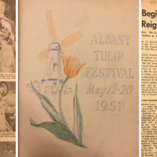 Tulip Queen Blog Header Photo with Newspaper Clippings