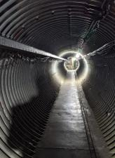 A tunnel leading out of the living space of an abandoned Atlas E missile silo near Cheyenne, Wyoming