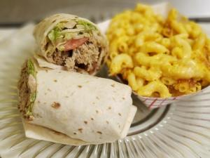 Redemption BBQ wrap with a side of mac and cheese