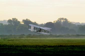 Wright Flyer flying at Huffman Prairie