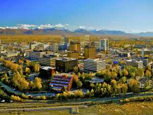 Anchorage aerial with city and the Chugach