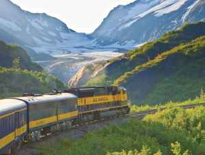 Alaska Railroad train passes a Glacier in Grandview