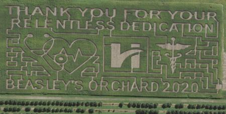 Beasley's Orchard tips their hat to front line healthcare workers in 2020.