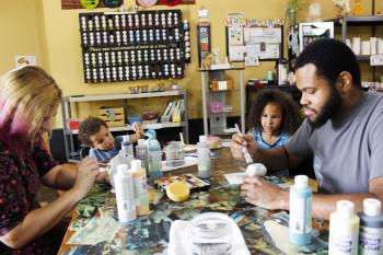 family at Alpaca Art Pottery Painting