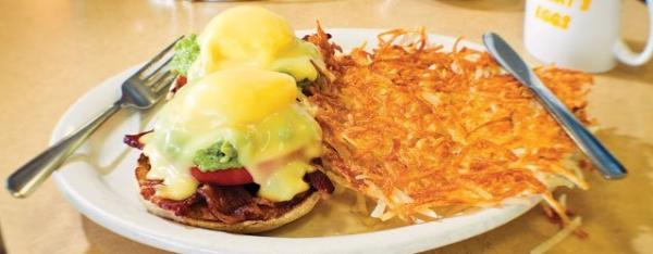 A breakfast plate with two eggs Benedict with a side of hash browns from Fat Nat's Eggs.