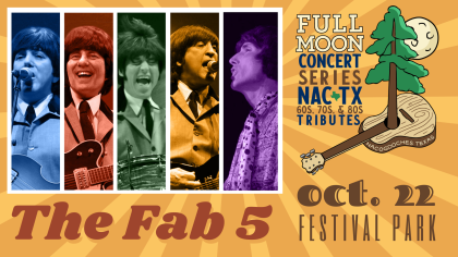 THE FAB 5: Full Moon Concert Series in Nacogdoches on October 22nd in Festival Park