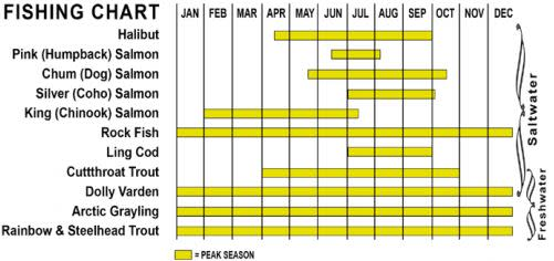 a chart by month showing peak times for fishing