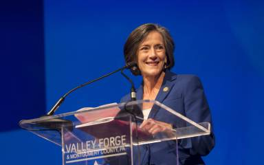 Valerie A. Arkoosh, MD, MPH, Chair of the Montgomery County Board of Commissioners speaks at the Valley Forge Tourism & Convention Board's 2017 Annual Luncheon.