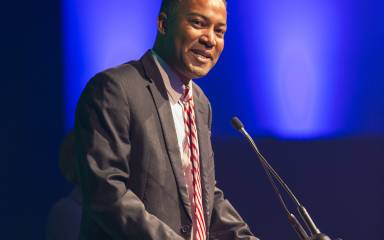 Kenneth E. Lawrence, ViceChair of the Montgomery County Board of Commissioners speaks at the Valley Forge Tourism & Convention Board's 2017 Annual Luncheon.