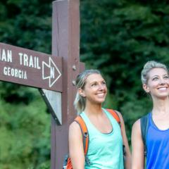 Two women hiking the Appalachian Trail in Duncannon, PA