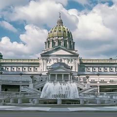 PA Capitol Complex + Fountain at Rear Entrance in Harrisburg, PA