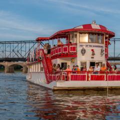 Pride of Susquehanna Riverboat (Front) w/ Passengers + Walnut Street Walking Bridge Background