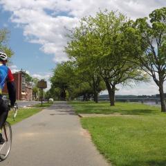 Biker on Capital Area Greenbelt along Riverfront Park in Harrisburg, PA