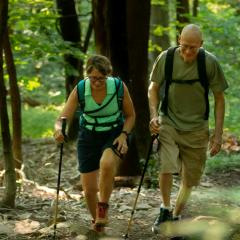 Couple Hiking Appalachian Trail Section in Duncannon, PA