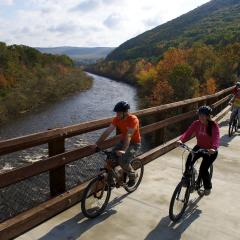 Bikers over Lehigh Gorge Bridge