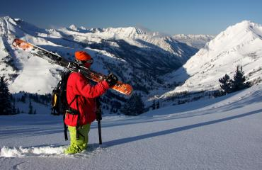 Skier Knee Deep in Snow at Alta