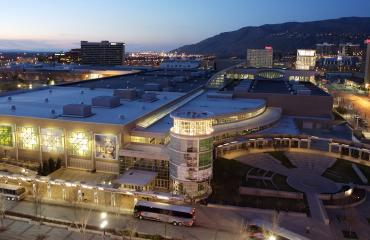 Salt Palace Convention Center at night