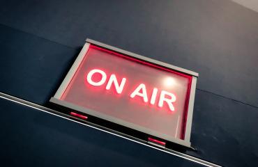 """On Air"" sign at the Visit Salt Lake Media Center"