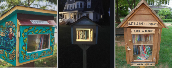 Three examples of little libraries.